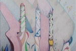 fein_three candles_colored pencil